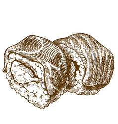 engraving of sushi vector image