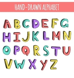 Hand drawn colorful english alphabet vector image
