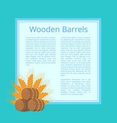 wooden barrels and ripe wheat ears vector image