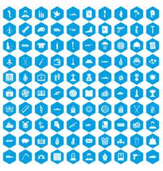 100 war crimes icons set blue vector