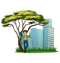 A man standing under the tree across the offices vector