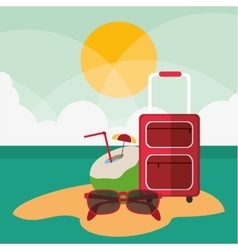 Baggage cocktail glasses summer vector