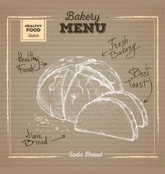 Bakery food on cardboard background soda bread vector