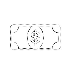 bank note dollar sign black dotted icon vector image vector image