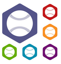 Baseball icons set hexagon vector