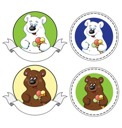 Bear and ice cream banner vector