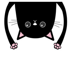 black funny cat head silhouette hanging upside vector image