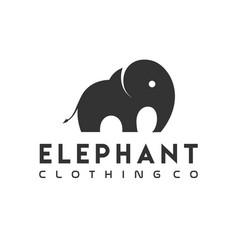 Black silhouette elephant logo modern simple vector
