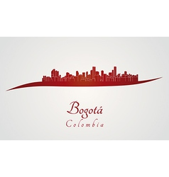 Bogota skyline in red vector image