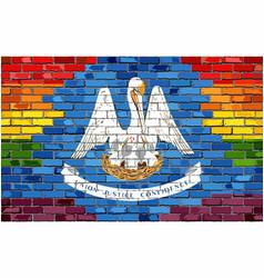 Brick wall louisiana and gay flags vector