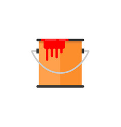 bucket of paint flat icon build repair elements vector image