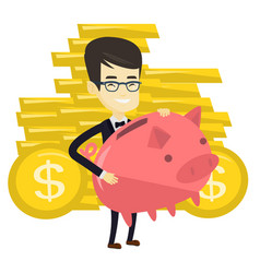Business man holding big piggy bank vector