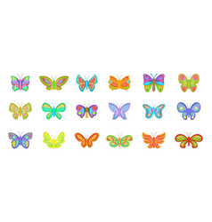 butterfly icon set cartoon style vector image
