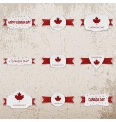 Canada day textile emblems set vector