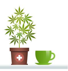 cannabis herbal tea and marijuana plant vector image