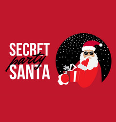cartoon secret santa perty christmas flat vector image
