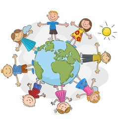 Children world over white background vector