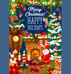 christmas fireplace greeting card with santa gift vector image