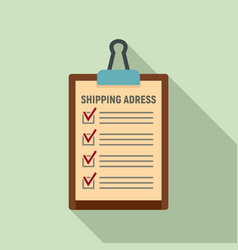 Clipboard shipping address icon flat style vector