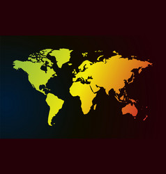 color gradient map of world dark background vector image