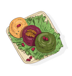 Colored drawing of delicious pkhali lying on plate vector