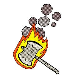 Comic cartoon flaming axe vector