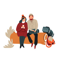 couple sitting on log hiking backpacks and vector image