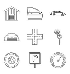 Covered parking icons set outline style vector