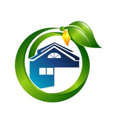 creative green house concept logo design template vector image