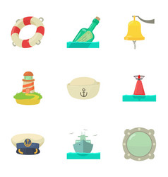 Creek icons set cartoon style vector