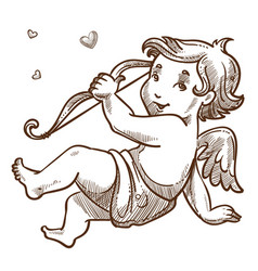 Cupid with bow valentines day baby angel sketch vector