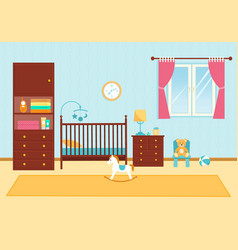 Cute children room with furniture baby room vector
