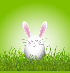 cute easter egg bunny in grass vector image