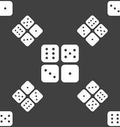 Dices icon sign Seamless pattern on a gray vector image