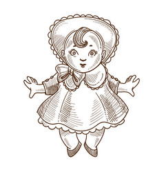 Doll retro toy sketch hand drawn isolated vector