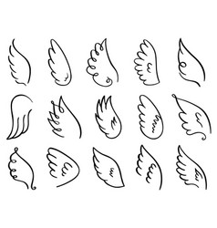 doodle wings hand drawn angel flight feather vector image