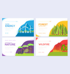 ecology day brochure cards set ecologica vector image
