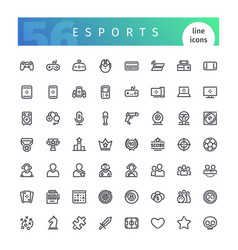 esports line icons set vector image