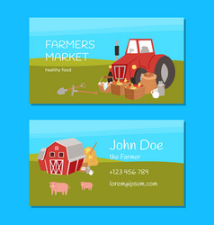 farmers market and agriculture business card with vector image