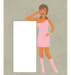 fashion girl showing message board vector image