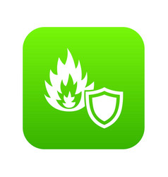 fire protection icon green vector image