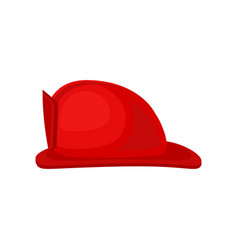 flat icon of bright red fire helmet solid vector image