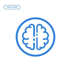 Flat line brain icon vector