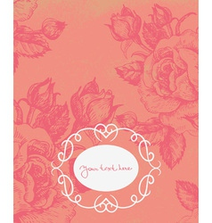 Floral background with vintage frame vector