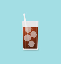fresh cool cola in glass on blue background vector image