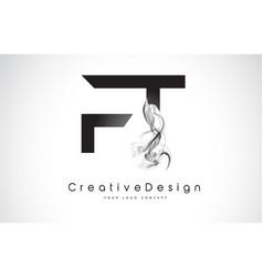 Ft letter logo design with black smoke vector