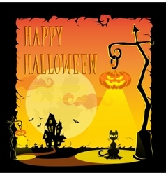 Funny halloween pumpkins in retro cartoon style vector