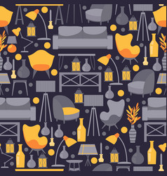 furniture icons in seamless pattern vector image