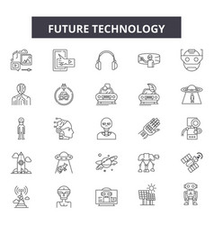 future technology line icons signs set vector image