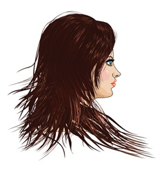 Girl with brown hair vector